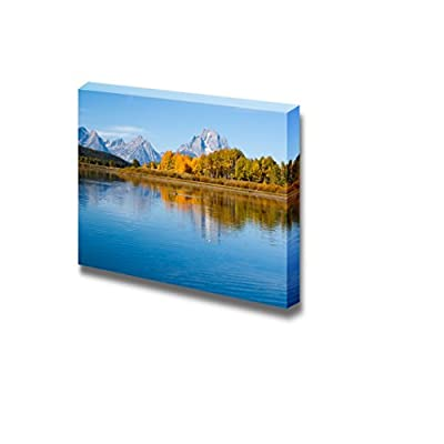Beautiful Scenery Landscape Reflections of Mountian in Autumn Fall Season on Grand Tetons Lake Nature Beauty - Canvas Art Wall Art - 24