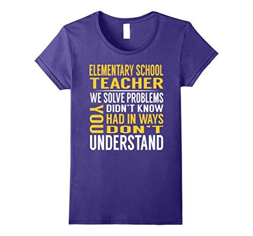 School Teacher Costume Accessories (Womens Elementary School Teacher Solve Problems TShirt Large Purple)