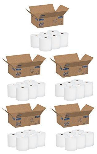 Scott High Capacity Hard Roll Paper Towels (01005), White, 1000' / Roll, 6 Paper Towel Rolls / Convenience Case, 5 Cases by Kimberly-Clark Professional