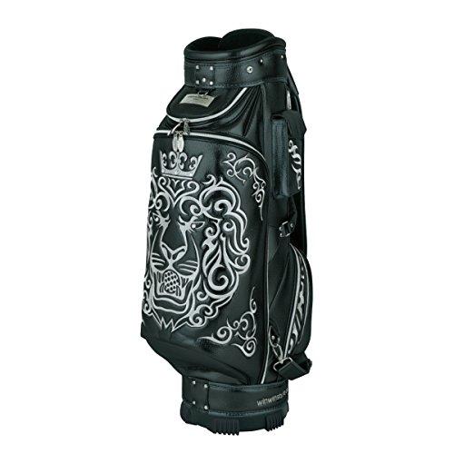 代表団セール過激派WINWIN STYLE(ウィンウィンスタイル) キャディーバッグ PREMIUM KING Of GOLF (LION DESIGN) CART Bag 9.0型 47インチ対応 限定モデル ユニセックス CB-342 ブラック デザイン:総刺繍