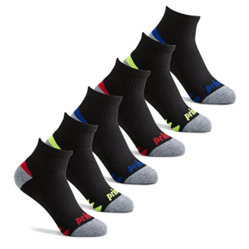 Prince Boys Quarter Athletic Socks for Active Kids (6 Pair Pack) (9-2.5 (Little Boys), Black)