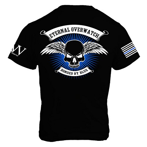 Winged Skull T-shirt - American Warrior Mens Eternal Overwatch / Blue Line T-Shirt XXX-Large Black