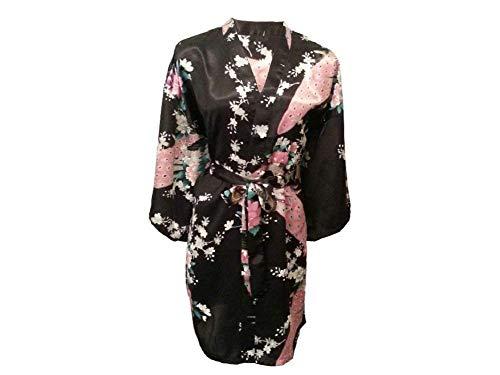 Rosado Vestido Albornoz Elegante Schwarz Estampado Largo Basic Ropa Un Mujer Vintage Para Floral Tamaño Camisón Pijama Moda Kimono vHIqHw