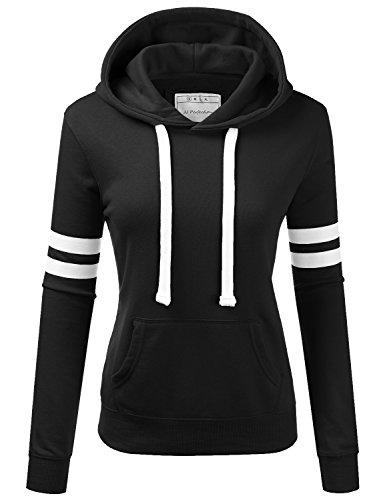 (NINEXIS Womens Long Sleeve Terry Hoodie Double Arm Line Pullover Sweatshirts Black S)