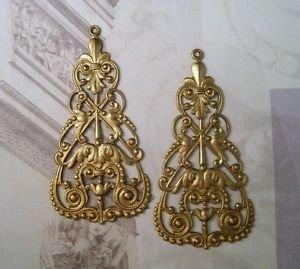 Large Raw Brass Nouveau Filigree Dangle Stampings (2) - ()