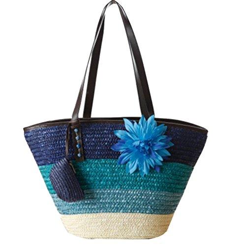 YOUJIA Damen Gewebt Stroh Handtaschen Strand Casual Handtasche Crochet Shopper Tragetaschen #1 Blue