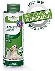 Aceite de salmón AniForte Premium para perros y gatos 250 ml - Prensado en frío con ácidos grasos Omega 3 y Omega 6, Aceite de pescado para cachorros, Adulto, Senior, Envase reciclable sin BPA