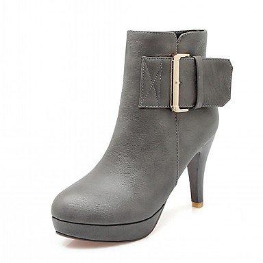 RTRY Zapatos De Mujer De Piel Sintética Pu Novedad Moda Otoño Invierno Confort Botas Botas Stiletto Talón Round Toe Botines/Botines De Clavos US6.5-7 / EU37 / UK4.5-5 / CN37
