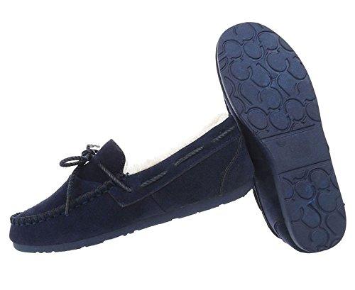 Damen Schuhe Mokassins Warm Gefütterte Dunkelblau