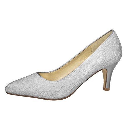 Elsa Color - Zapatos de vestir de Satén para mujer Blanco blanco marfil 37