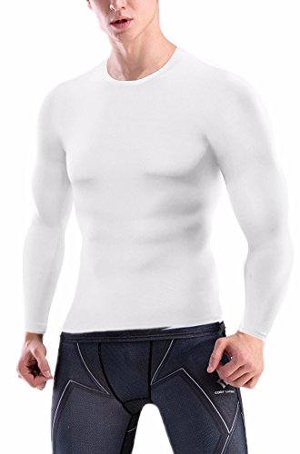 Rash White Vest (CFR Sport Base Layer Long Sleeves Compression Tights Shirts Men Activewear Muscle Tank for Fitness Workout Running Rashguard White,L UPS Post)