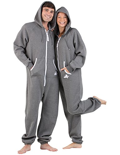 Footed Pajamas Family Matching Charcoal Gray Footless Hoodie One Piece - Adult, Small