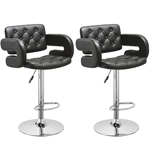 Costway Swivel Bar Stools Leather Hydraulic Pub Chair Adjustable, Set of 2 (Black)
