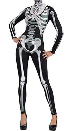 Lovaru Women's Holloween Pumpkin Scary Bat Costume Skeleton Jumpsuit Multicoloured Large (Scary Halloween Costumes For Womens)