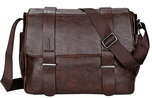 4FSGLOBAL New Vintage Men Shoulder Bag Casual Crossbody Messenger Bag Faux Leather (Brown Wide 34*28*10cm)