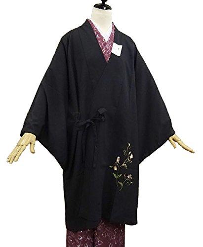 訪問バッフル予知【道中着】刺繍洗える和装コート (黒/ 刺繍:つる草)