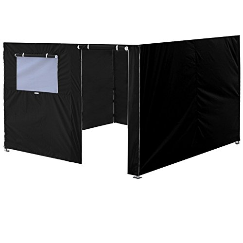 (Eurmax Full Zippered Walls for 10 x 10 Easy Pop Up Canopy Tent,Enclosure Sidewall Kit with Roller Up Mesh Window and Door,4 Walls ONLY,Black)