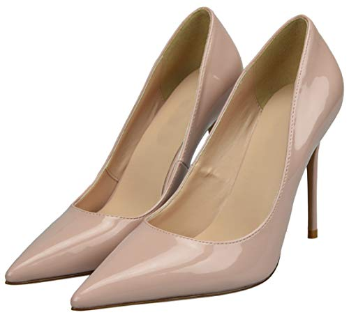 Party Leather Shoes Pointed Patent Evening Stiletto Pumps Heels Slip Shoes Nude Wedding Basic On High Court Toe Womens Shoes wBqgY4T6x4