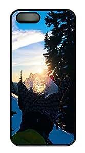 iPhone 5 5S Case landscapes nature snow 12 PC Custom iPhone 5 5S Case Cover Black