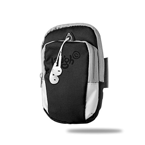 Laught Day With Smile Face Outdoor Sports Armband Arm Package Bag Cell Phone Bag Key Holder For Iphone 6/6s/7/7p One Size Black