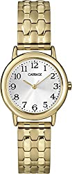 Carriage Women's Gold-tone Round Case Stainless Steel Expansion Band Watch
