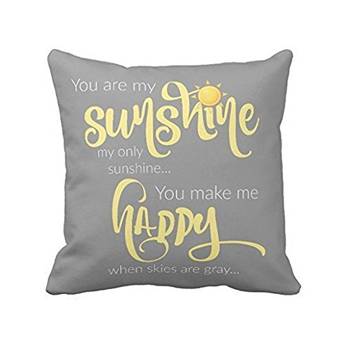 Leaveland 18 x 18 Inch You Are My Sunshine Yellow On Gray with Chevron Soft Cotton Polyester Throw Pillow Cases Home Decor Coshion cover Decoretive pillow cover (Yellow Pillows Gray And)