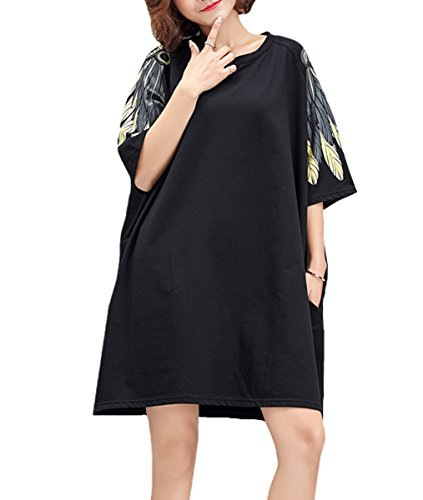 ELLAZHU Women Fashion 3/4 Sleeves Flower Embroidered Loose T Shirt Dress GA1137 A Ga1188