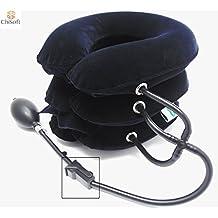 Best Inflatable Cervical Neck Traction Device - CHISOFT Neck Stretcher 3 Layers   Fast Neck Pain Relief Cervical Traction unit   Longer Velcro Strap, Bigger Air Pump
