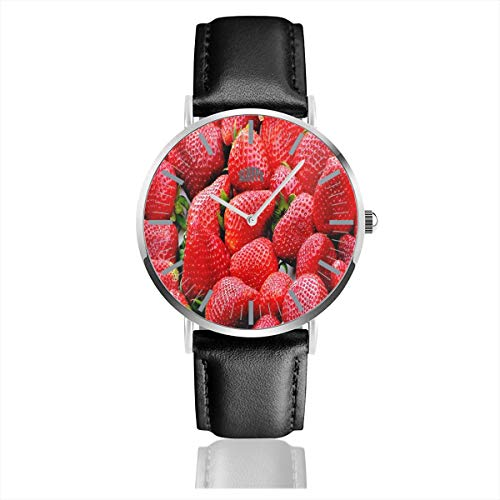 Watch Red Strawberry Fruits Personalized Wrist Watches Quartz Stainless Steel and PU Leather for Unisex ()
