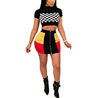Women Two Piece Outfit Dress Suit Crop Top PU Leather Bodycon Mini Skirt Set Party Clubwear