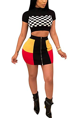 Women Two Piece Outfit - Plaid Dress Suit Short Sleeve Crop Top Skirt Set Party Clubwear ()