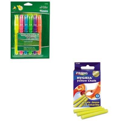 (KITDIX31344DIX47076 - Value Kit - Prang Hygieia Dustless Board Chalk (DIX31344) and Ticonderoga Emphasis Desk Style Highlighter (DIX47076))