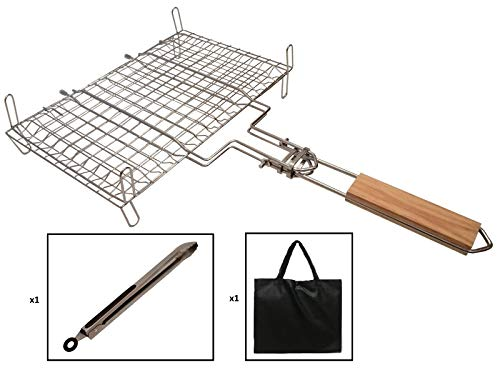 Grill Basket for BBQ, Camping, Charcoal Grill Basket with Stands, Resistant and Full Made of Stainless Steel for Grilling Fish,Vegetables, Steak, Shrimp, Chops and More. Bonus Barbecue Tongs and Bag.