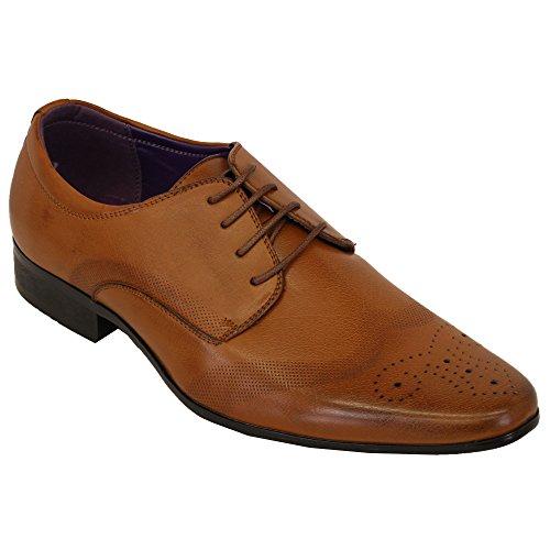 Italienische Schuhe Herren Lederoptik Brogue Schnürbar Spitz Formell Elegant Lässig, Die Neue Hellbraun - M003
