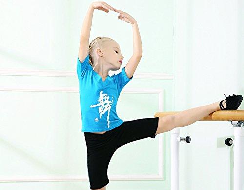 Ensemble Acvip shirt Coton Justaucorps Magnifique V Gymnastique De Enfant En Performance Bleu Col Fille Short T Danse Vêtement 00FSPBH