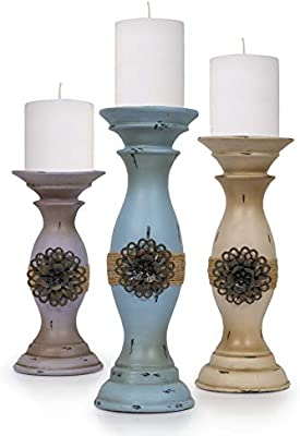 Amazon Com Besti Vintage Pillar Candle Holders 3 Piece Set Tall Decorative Metal Home Accents And Decor Modern Kitchen Dining Living Room Decorations Modern Shabby Chic Home Kitchen