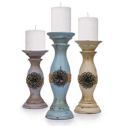 Besti Vintage Pillar Candle Holders (3-Piece Set) Tall, Decorative Metal Home Accents and Decor | Modern Kitchen, Dining, Living Room Decorations | Modern Shabby Chic (Living Room Mantel Decor)