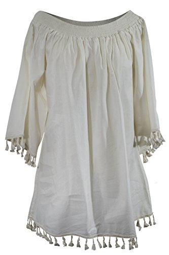 Pom Mini Shoulder Off Pom White Open Cotton Dress Bell Sleeve CCcollections q7gAa88