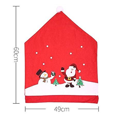 Red RB Lot de 4 Housses de Dossier de Chaise de No/ël avec Bonnet de P/ère No/ël Rouge 4 pi/èces