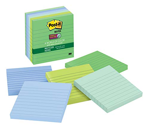(Post-it Recycled Super Sticky Notes, 2x Sticking Power, 4 in x 4 in, Bora Bora Collection, Lined, 6 Pads/Pack, 90 Sheets/Pad (675-6SST))