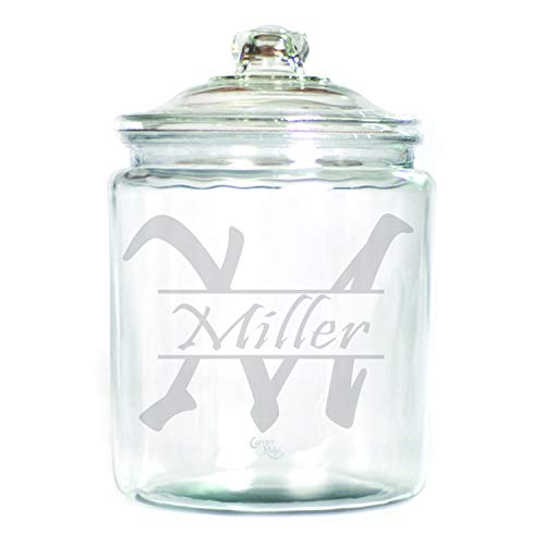 (Engraved Glass 1 Gallon Canister - Personalized - Name with Monogram)