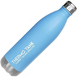Thermo Tank Insulated Stainless Steel Water Bottle - Ice Cold 36 Hours! Vacuum + Copper Technology - 25 Ounce (Haze Blue, 25oz)