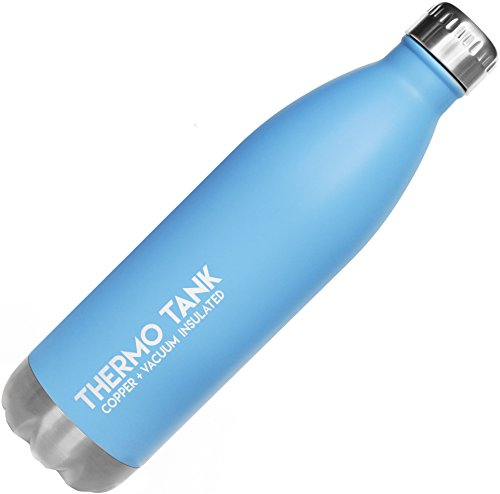 Thermo Tank Insulated Stainless Steel Water Bottle - Ice Cold 36 Hours! Vacuum + Copper Technology - 25 Ounce (Haze Blue, 25oz) ()