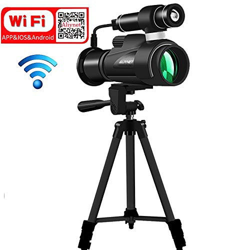 ht Vision Monocular with WiFi Wireless Connect with Smartphone Application,HD Night Vision Telescope with Big Tripod&Phone Adapter for Outdoor Trip,Camping Night Watching ()