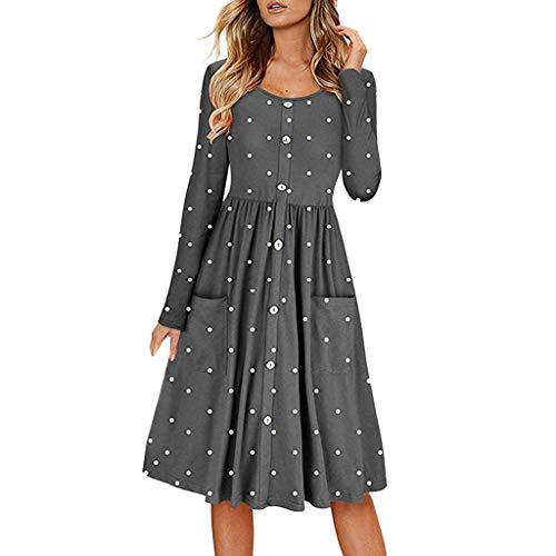 f0e5ea4e8a21a7 CUTUDE Damen Kleider Punkt Drucken Langarm Tasche Frauen Kleid Lange Maxi  Kleid Mode 2019 Partykleid Beiläufig