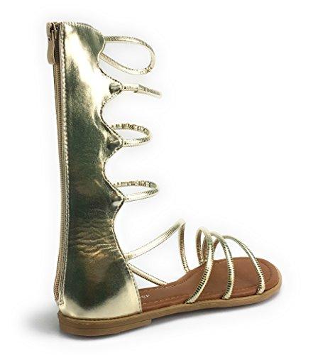 Bambus Kvinners Rhinestone Slange Spiral Leg-wrap Flat Sandal Stil Hensynsløs-01m Gull Katia49
