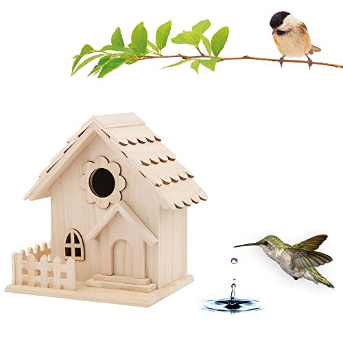 - m·kvfa DIY Bird House Wooden House Resting Place for Birds Provides Shelter from Cold Weather Nest House Bird Box Ideal for Finch & Canary Pet Sleep Home Outside Garden (A)