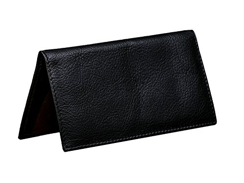 Dwellbee Leather Checkbook Cover with Register Holder and Carbon Copy Divider (Buffalo Leather), Black Cowhide