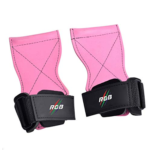 RGB- Heavy Duty Weight Lifting Straps - Weightlifting Gloves and Powerlifting Hooks Alternative - Best for Deadlifts - Adjustable Neoprene Padded Support Wrist Wraps (Pink, Standard)