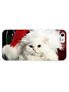3d Full Wrap Case for iPhone 5/5s Animal Cat With Santa Hat